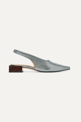 Ganni Metallic Leather Slingback Pumps - Silver