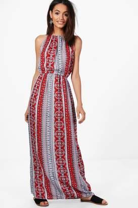 boohoo Paisley Print High Neck Maxi Dress