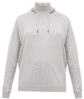 Brunello Cucinelli Crystal-embroidered Wool-blend Sweater - Womens - Light Grey