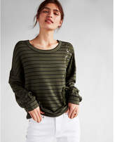 Express one eleven striped asymmetrical lace-up sweatshirt