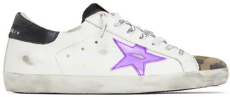 Golden Goose White and Camo Superstar Sneakers