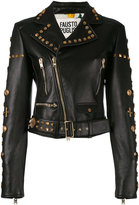 Fausto Puglisi embellished belted biker jacket - women - Silk/Leather/Polyurethane - 42