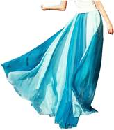 Emoyi Women Soft Vintage Bohemian Chiffon Maxi Bouffancy Long Skirt Beach Dress (L, )