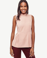 Ann Taylor Crepe Mock Neck Peplum Top