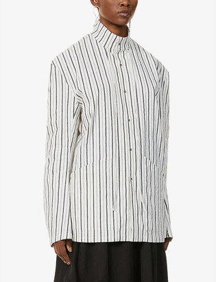 Chia Hung Su Striped cotton- and linen-blend shirt