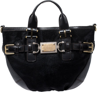 Dolce & Gabbana Black Calfhair and Leather Miss Mary Hobo