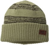 Levi's Men's Double Knit Striped Mareled Beanie with Solid Cuff and Logo Patch