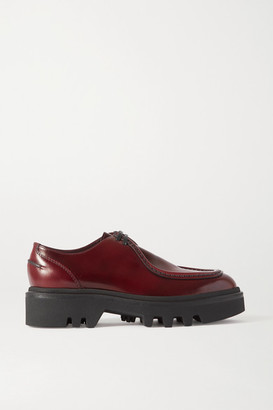 Dries Van Noten Glossed-leather Platform Brogues - Burgundy