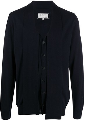 Maison Margiela Asymmetric Four-Stitch Cardigan
