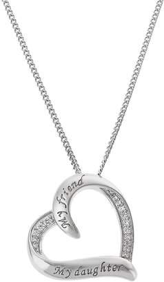 Moon & Back Cubic Zirconia Heart Pendant 18 Inch Necklace