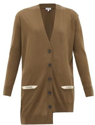 Loewe Asymmetric Pocket-logo Wool Cardigan - Khaki