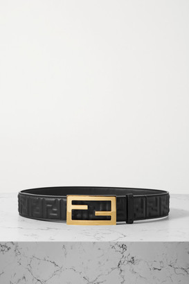 Fendi Embossed Leather Belt - Black