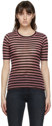 Rag & Bone Pink Metallic Stripe T-Shirt