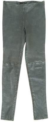 Balenciaga Khaki Leather Trousers