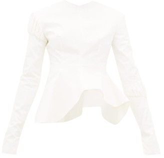 A.W.A.K.E. Mode Asymmetric Peplum Cotton-twill Top - Womens - Cream