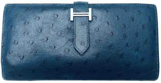 Hermes Bearn Blue Ostrich Wallets