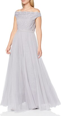 Little Mistress Women's Grey Off The Shoulder Embroidered Mesh Maxi Dress Party 12