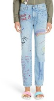 Mira Mikati Women's Hand Painted Doodle Crop Jeans