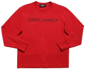 DSQUARED2 Rubberized Logo Cotton Jersey T-shirt