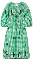 Innika Choo - Smocked Embroidered Gingham Cotton Dress - Green