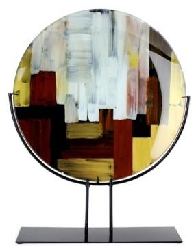 "Jasmine Art Glass 25"" Round Platter with Metal Stand"
