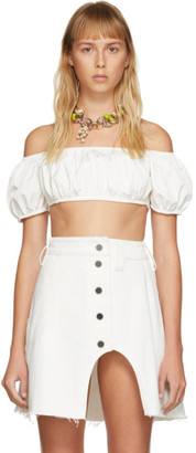 Sunnei White Short Sleeve Crop Top
