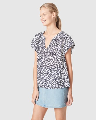 French Connection Women's Shirts & Blouses - Textured Flutter Sleeve Shirt - Size One Size, 10 at The Iconic