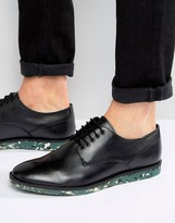 Asos Derby Shoe In Black Leather With Interest Sole