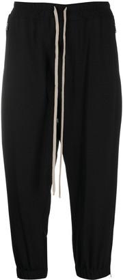 Rick Owens Drawstring Waist Zip Detail Cropped Trousers