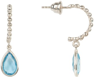 Latelita Palermo Beaded Hoop Gemstone Drop Earring Blue Topaz Silver