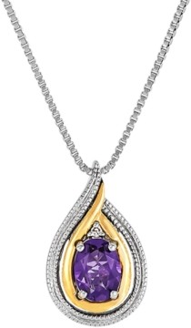 """Macy's Amethyst (5/8 ct. t.w.) & Diamond Accent 18"""" Pendant Necklace in Sterling Silver & 14k Gold"""