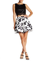 City Triangles Sequin Lace Floral Skirt Two-Piece Set (Juniors)