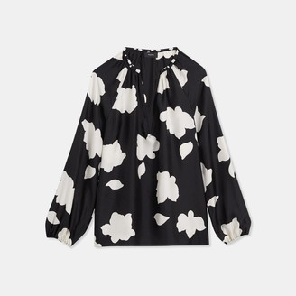 Theory Silk Petal Print Open V Top