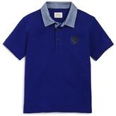 Armani Junior Armani Boys' Chambray Trimmed Piqué Polo Shirt - Sizes 6-16