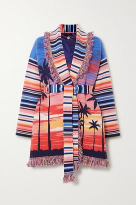 Alanui Malibu Sunset Belted Fringed Cashmere-blend Jacquard Cardigan - Pink