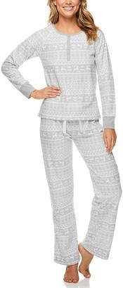 Kathy Ireland Women's Sleep Bottoms LGRY - Light Gray Fair Isle Henley Pajama Set - Women