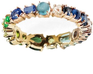 Sharon Khazzam Green and Blue Hued Yellow Gold Baby Ring