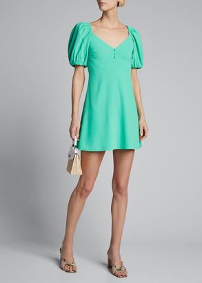 Alice + Olivia Dana Puff-Sleeve Flared Mini Dress