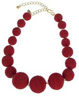 Kenneth Jay Lane Women's Matte Pink Thread Wrapped Small to Large Balls Strand Necklace of Length 40.64-50.8cm