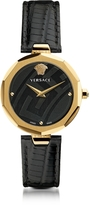 Versace Idyia Decagonal Black and Gold Women's Watch with Greek Engraving