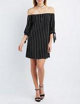 Charlotte Russe Striped Off-The-Shoulder Shift Dress