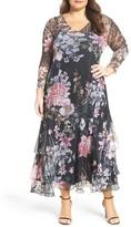 Komarov Plus Size Women's Print Chiffon Tiered A-Line Dress