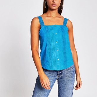 River Island Blue sleeveless lace cami