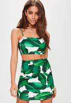 Missguided Petite Palm Print Skirt, White