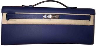 Hermes Kelly Cut Clutch Blue Leather Clutch bags
