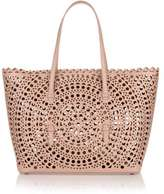 Alaia Light beige medium laser-cut bag