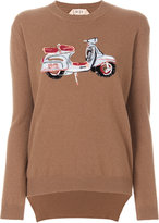 No.21 embroidered moped sweater