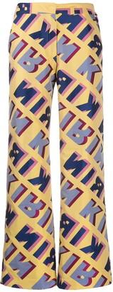 Kirin Graphic-Jacquard Flared Trousers