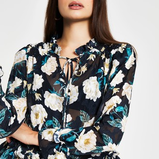 River Island Womens Black long sleeve floral peplum blouse top