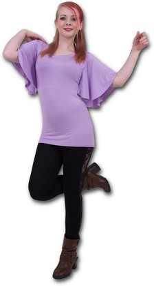 Spiral Direct Women's Gothic Elegance-Boat Neck Bat Sleeve Top Purple T-Shirt